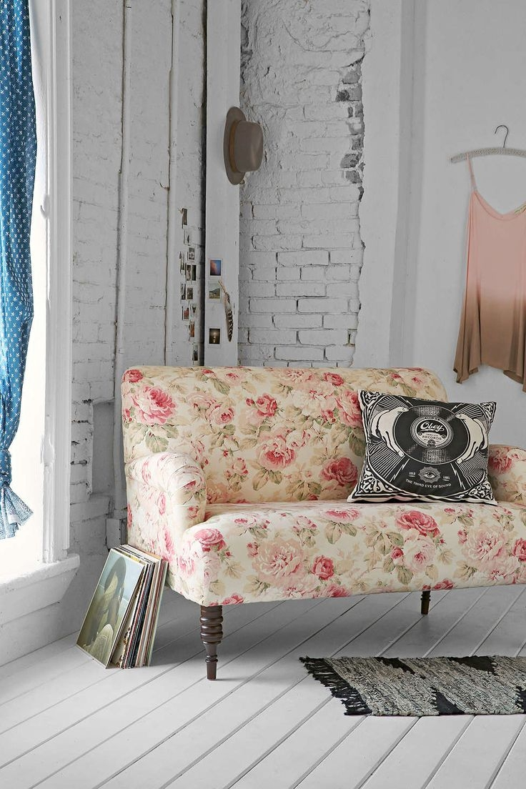 Yellow And Red Floral Fabric Padded Futon 3 Sofas Nagpur River With Chintz Fabric Sofas (Image 14 of 15)