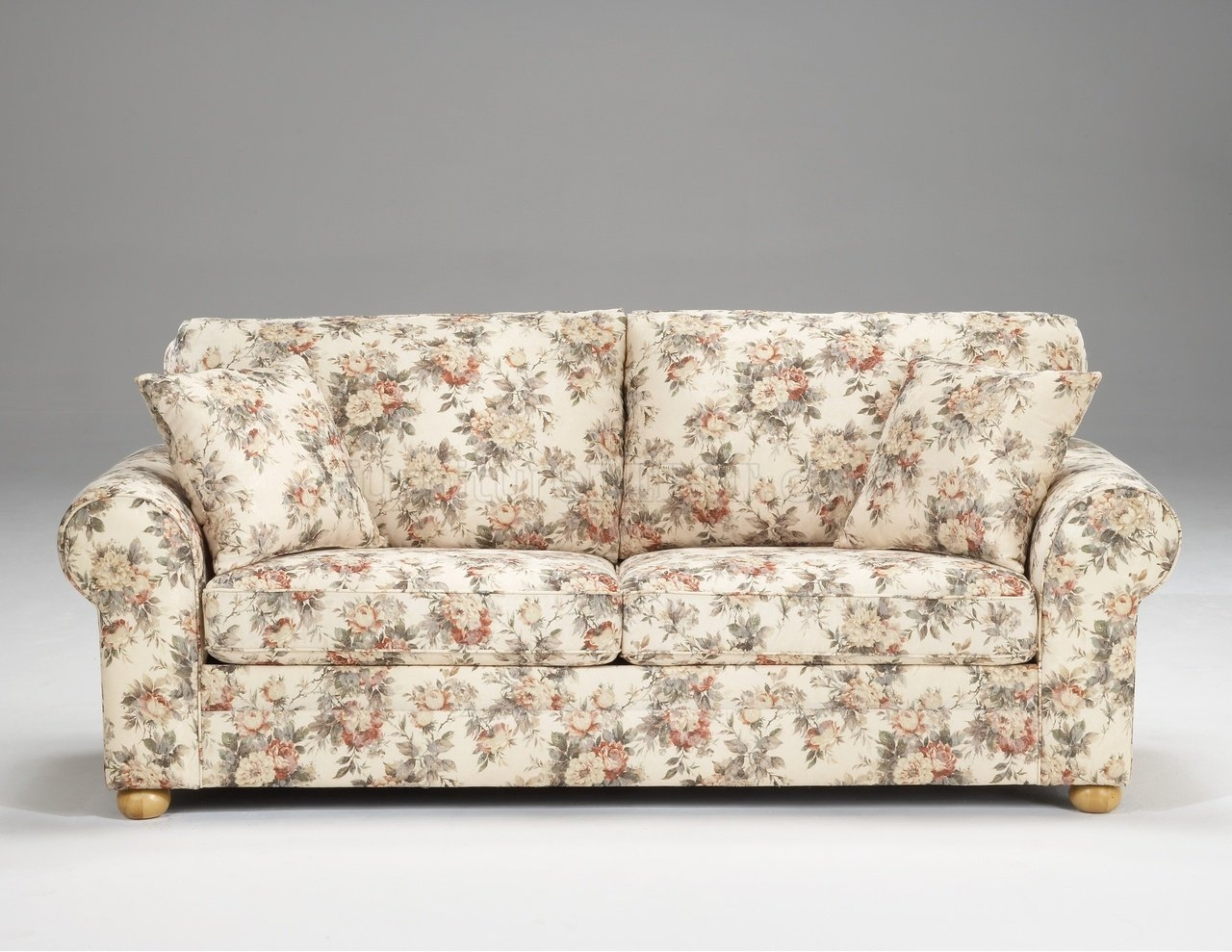Yellow And Red Floral Fabric Padded Futon 3 Sofas Nagpur River With Chintz Sofas And Chairs (Image 15 of 15)