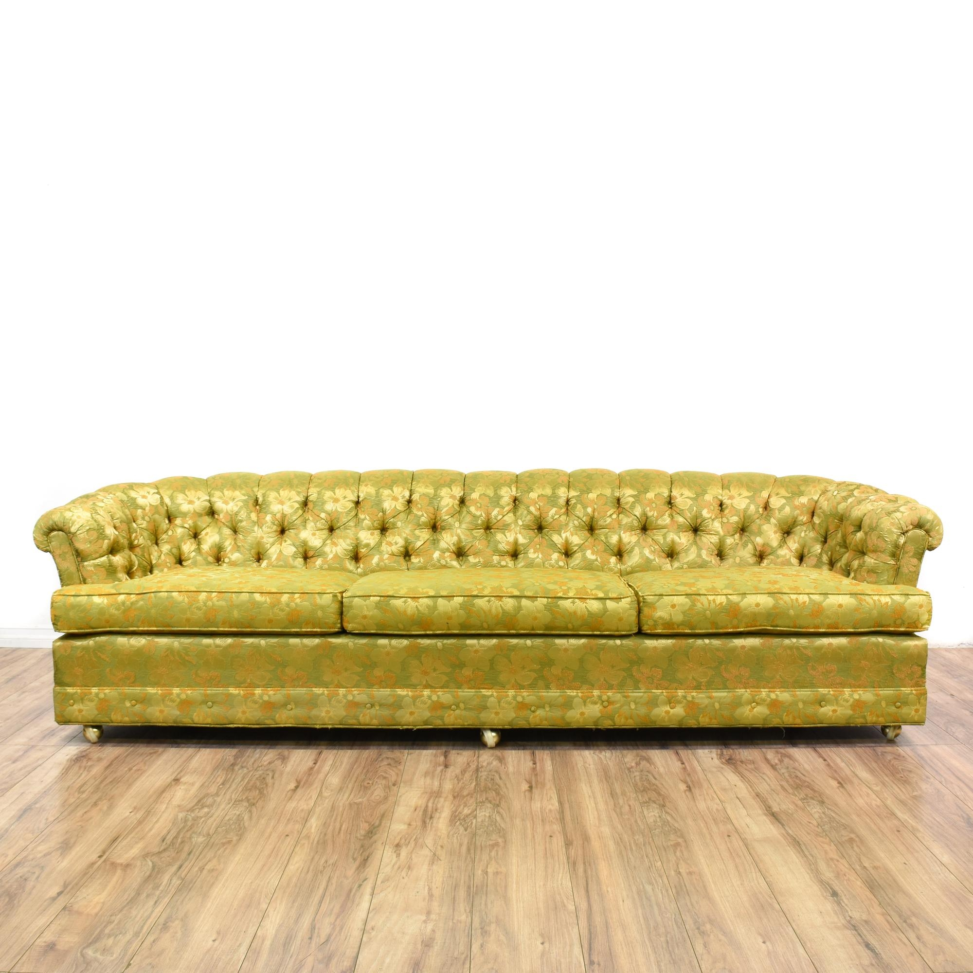 Yellow Green Floral Tufted Chesterfield Sofa Chesterfield Sofa Intended For Yellow Chintz Sofas (Image 15 of 15)