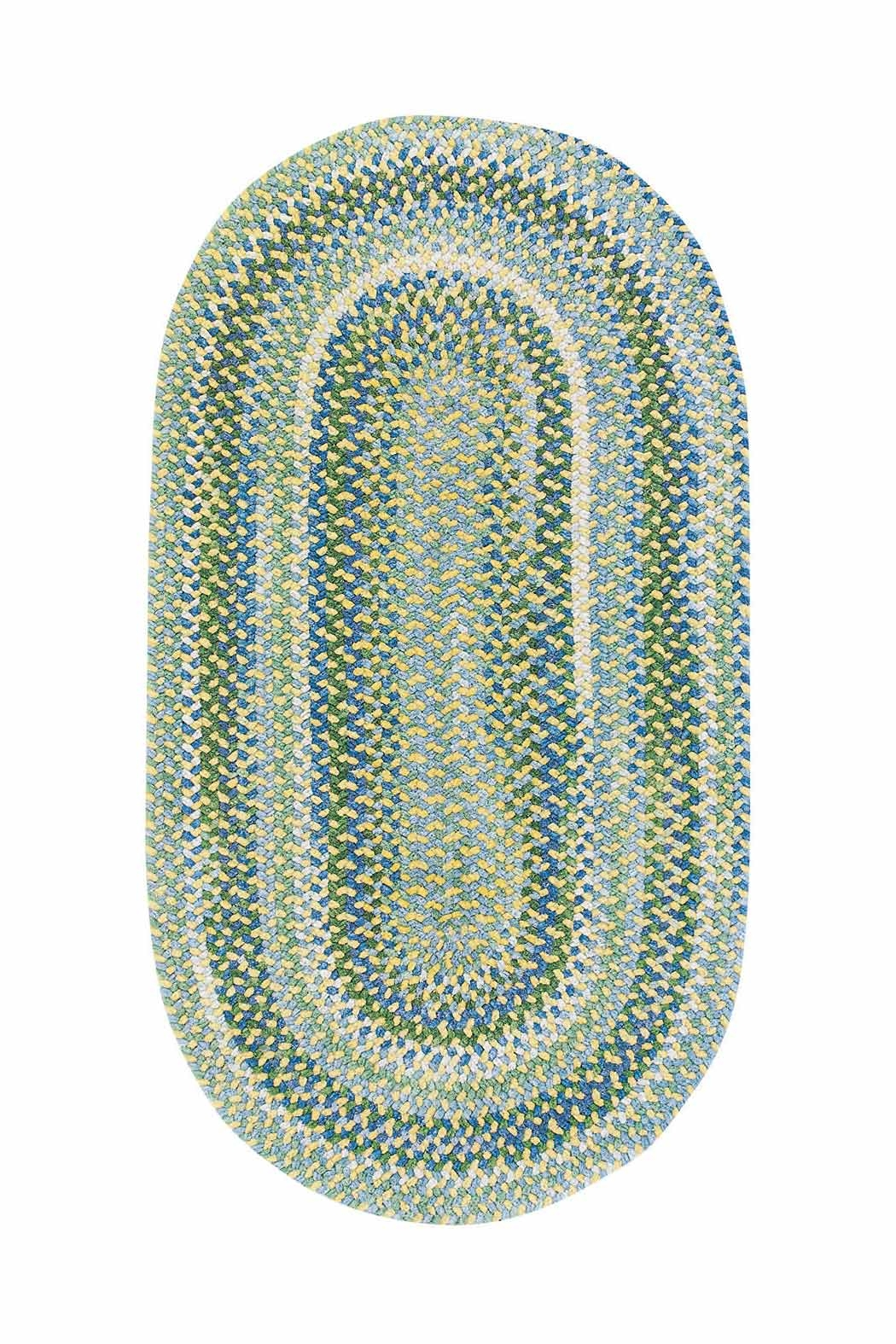 Yellow Waterway Braided Chenille Rug Cottage Home Inside Oval Rugs (Image 15 of 15)