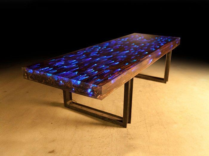 10 Ft L Dining Table Desk Driftwood Resin Embedded Led Lights Iron Pertaining To Led Dining Tables Lights (Image 1 of 20)