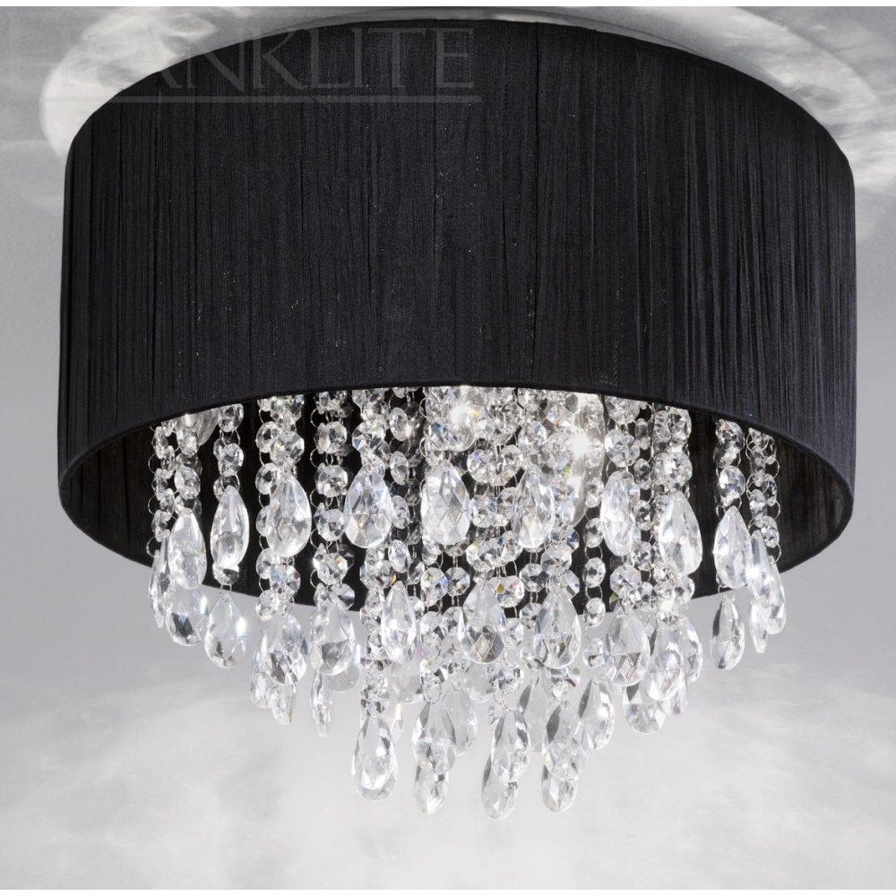 100 Ideas Black Crystal Lighting On Vouum Within Flush Chandelier Ceiling Lights (Image 1 of 25)