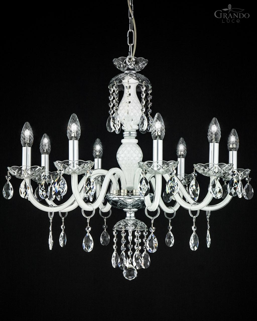 1048 Ch Chrome White Crystal Chandelier With Swrovski Spectra Inside White And Crystal Chandeliers (Image 1 of 25)