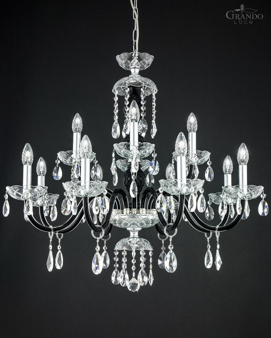 10484 Ch Chrome Black Crystal Chandelier Grandoluce With Chrome And Crystal Chandeliers (Image 1 of 25)