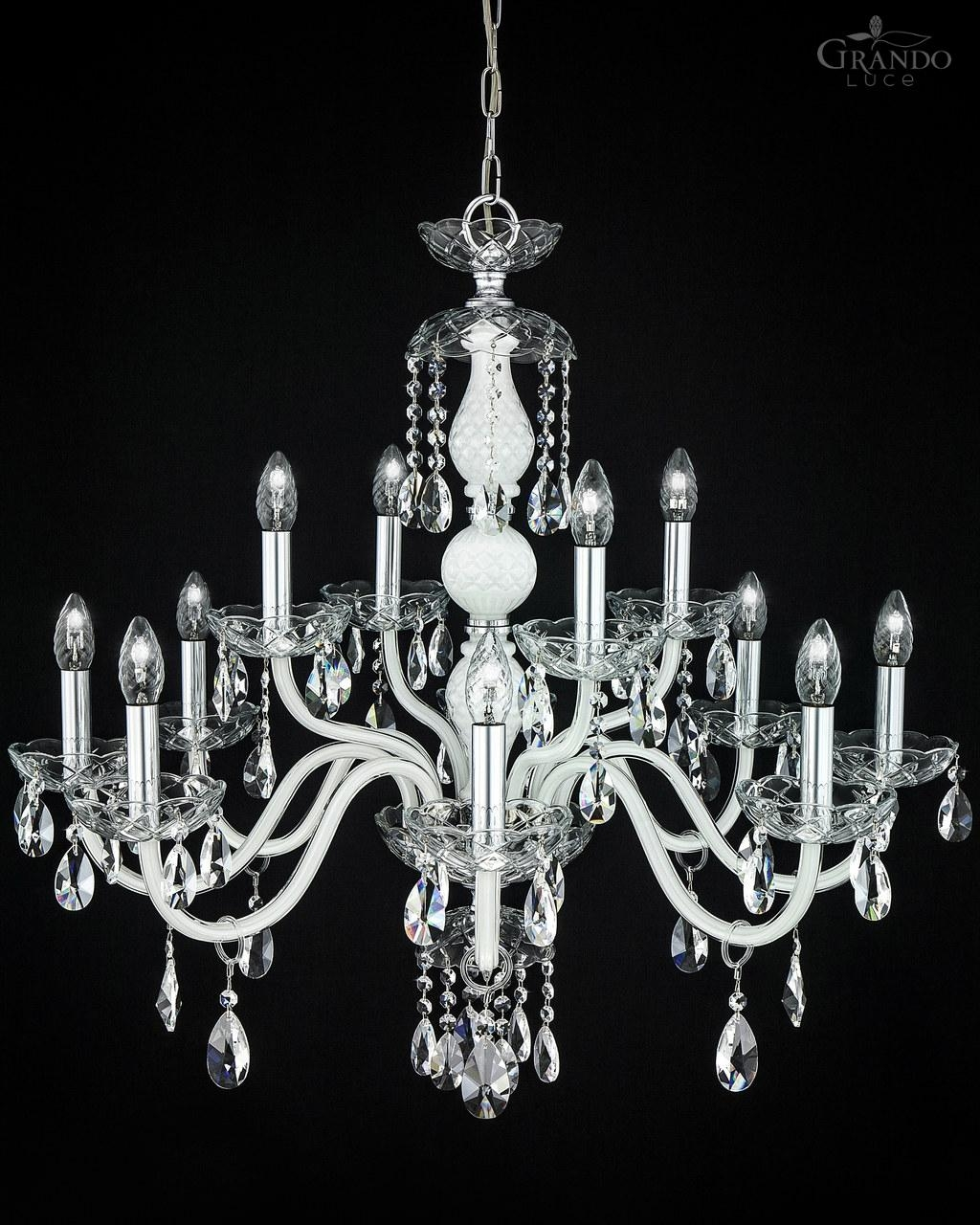 10484 Ch Chrome White Crystal Chandelier Grandoluce With Regard To White And Crystal Chandeliers (Image 2 of 25)
