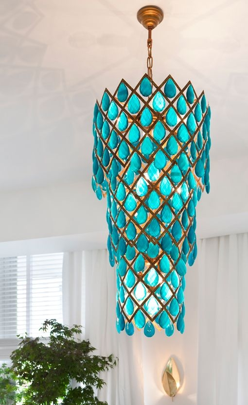 105 Best Sea Glass Lighting Images On Pinterest Glass Pendants Inside Turquoise Glass Chandelier Lighting (Image 1 of 25)