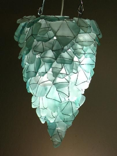 105 Best Sea Glass Lighting Images On Pinterest Glass Pendants With Regard To Turquoise Gem Chandelier Lamps (Image 1 of 25)