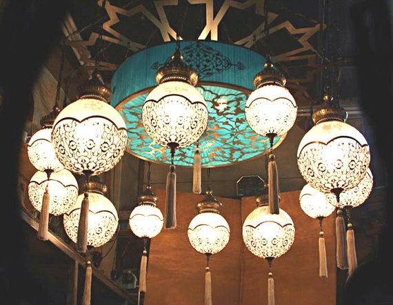 12 Ball Ottoman Turkish Lampshanging Lighthanging Lamp Intended For Turquoise Ball Chandeliers (Image 2 of 25)