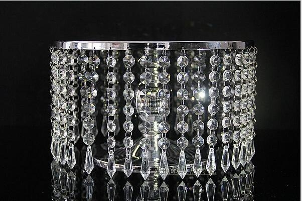 12 Round Luxury Acrylic Crystal Chandelier Strands Metal Mirror Intended For Faux Crystal Chandelier Wedding Bead Strands (Image 3 of 25)