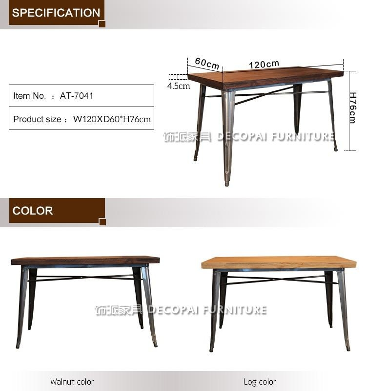 120X60 Bordered Desktop Elm Wood And Iron Dining Table – Buy In Dining Tables 120X (Image 2 of 20)