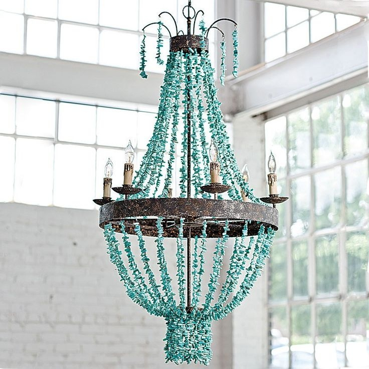 14 Best Chandeliers Images On Pinterest Throughout Turquoise Beaded Chandelier Light Fixtures (Image 1 of 25)