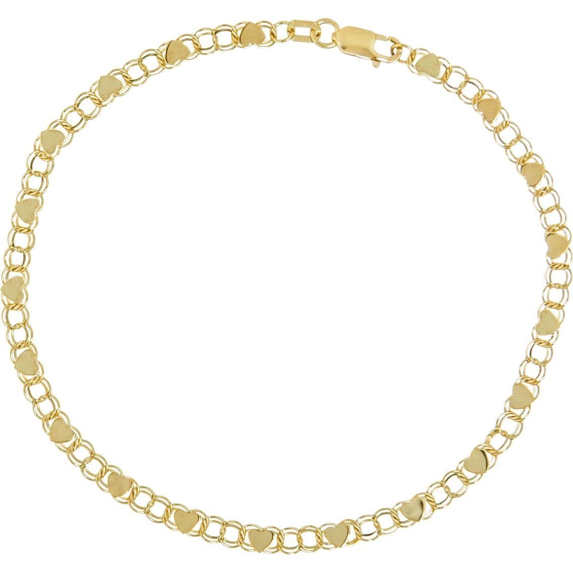14K Yellow Gold Heart Mirror Rope Bracelet | Gold Bracelets Intended For Gold Heart Mirror (Image 1 of 20)