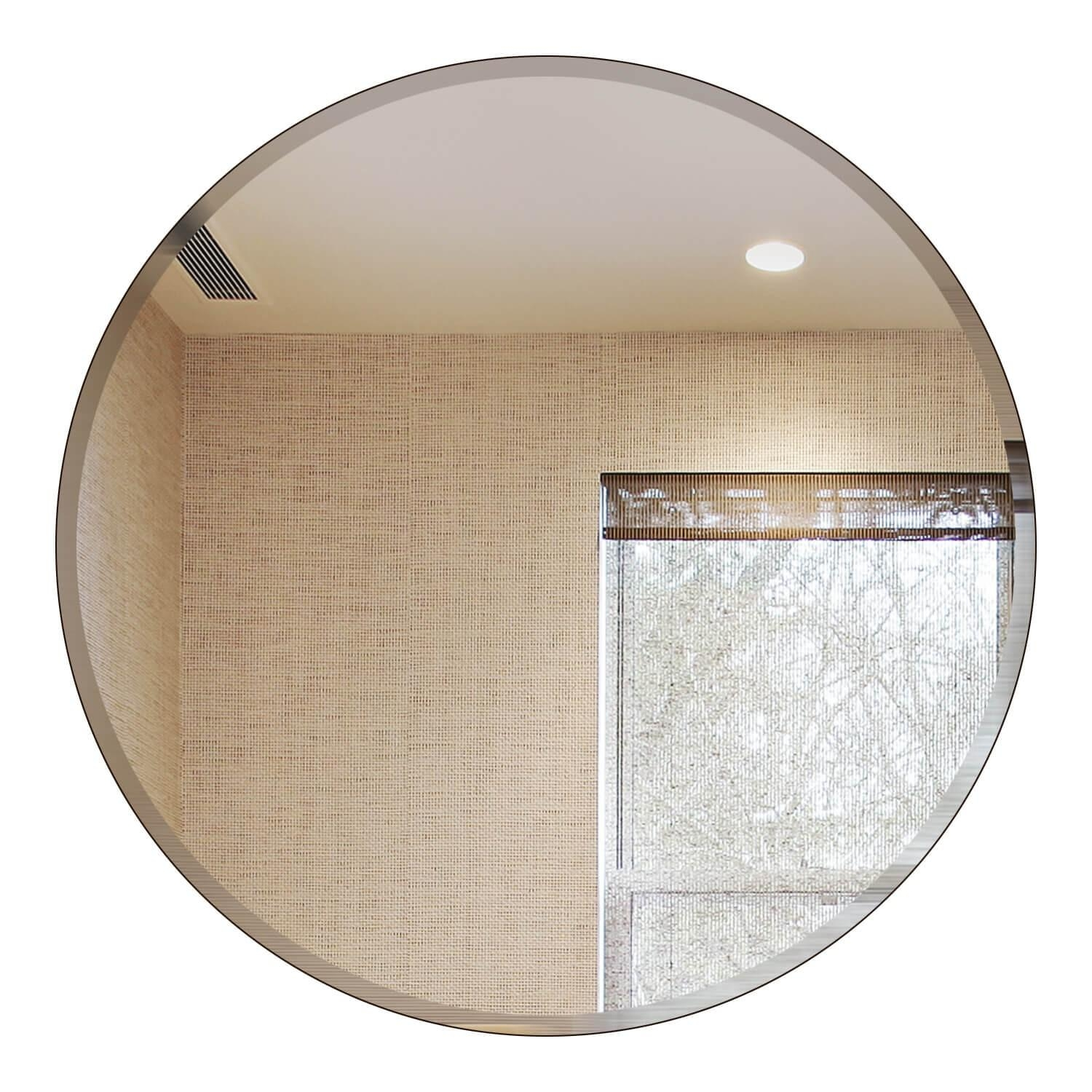"18 Inch Round Beveled Mirror – Frameless Mirror 18"" Round With Round Bevelled Mirror (Image 1 of 20)"