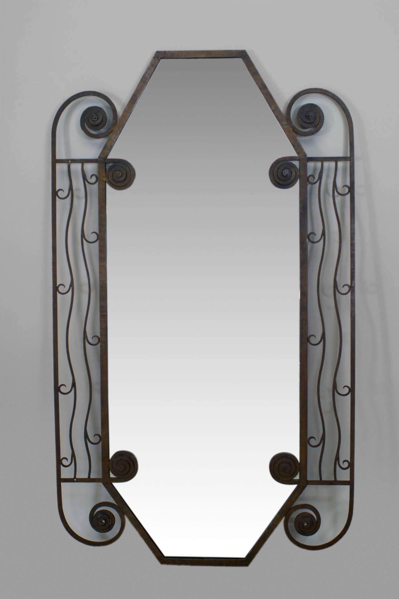 1930's French Art Deco Iron Wall Mirror For Sale At 1Stdibs Within French Wall Mirror (Image 1 of 20)