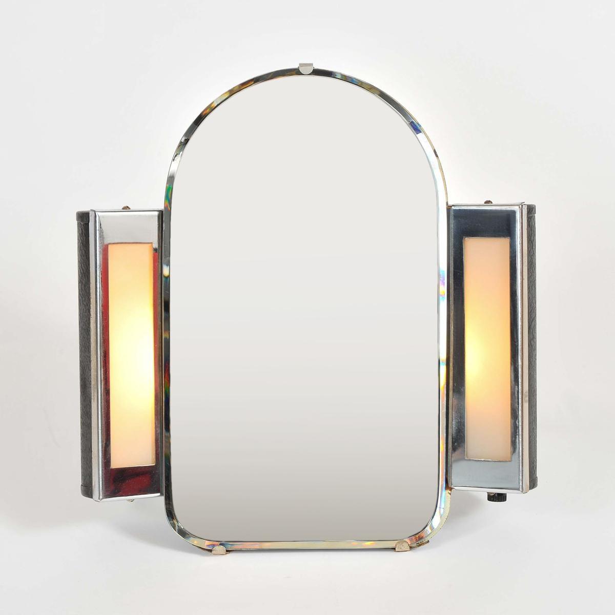 1930S Us Art Deco Illuminated Dressing Table Mirror | Valerie Wade In Art Nouveau Dressing Table Mirror (Image 1 of 20)