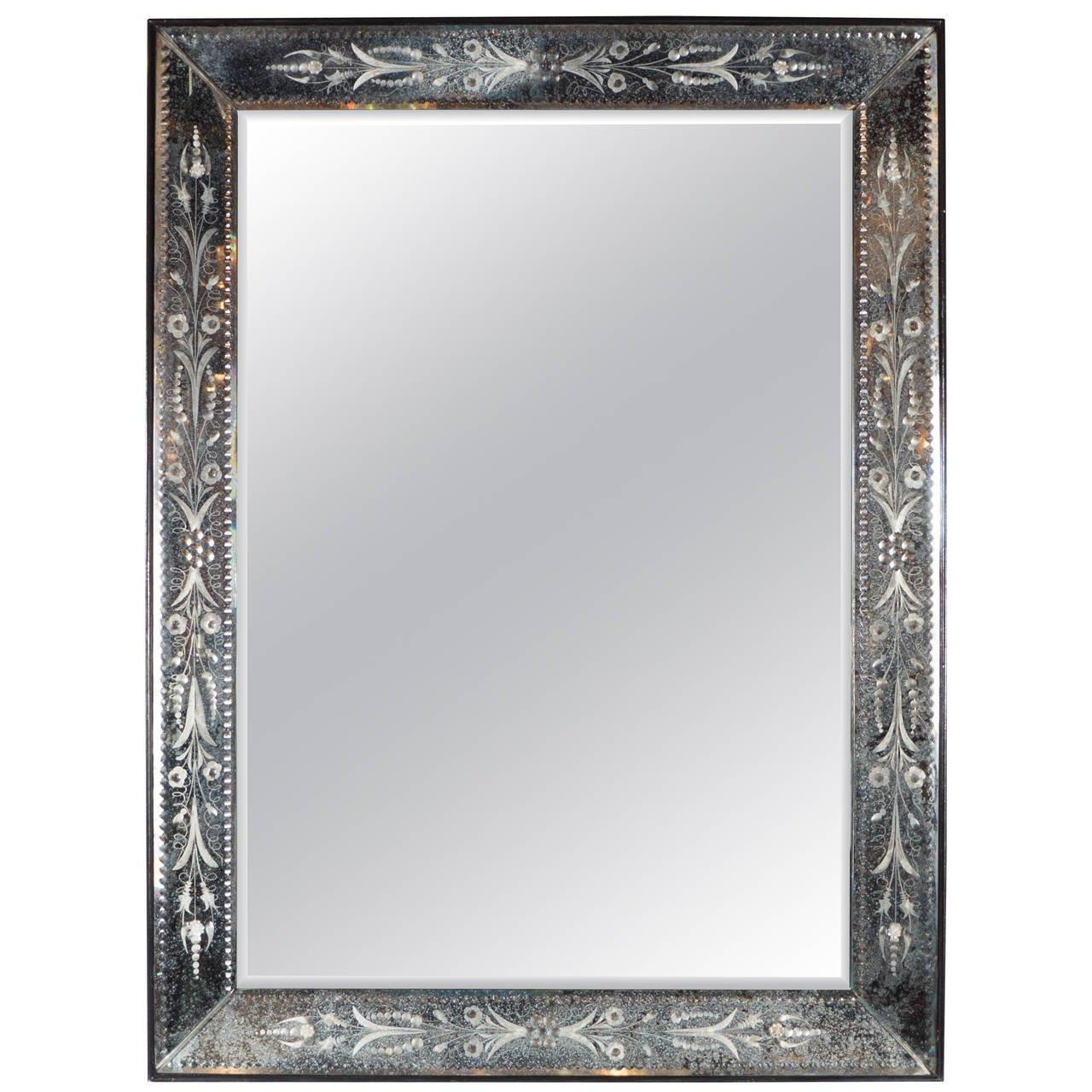 1940S Venetian Mirror With Patinated And Reverse Etched Smoked With Black Venetian Mirror (Image 1 of 20)