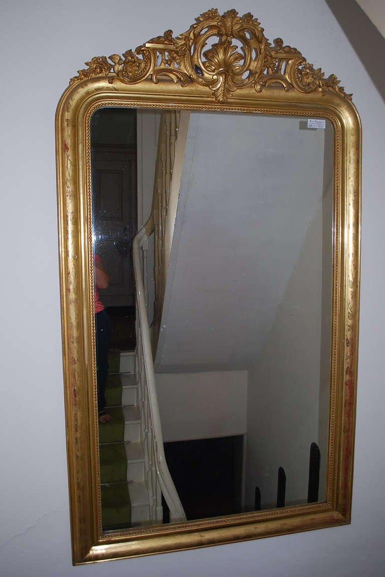 19Th Century Large Gold Gilded Baroque Mirror For Sale At 1Stdibs Within Gold Baroque Mirror (Image 1 of 20)