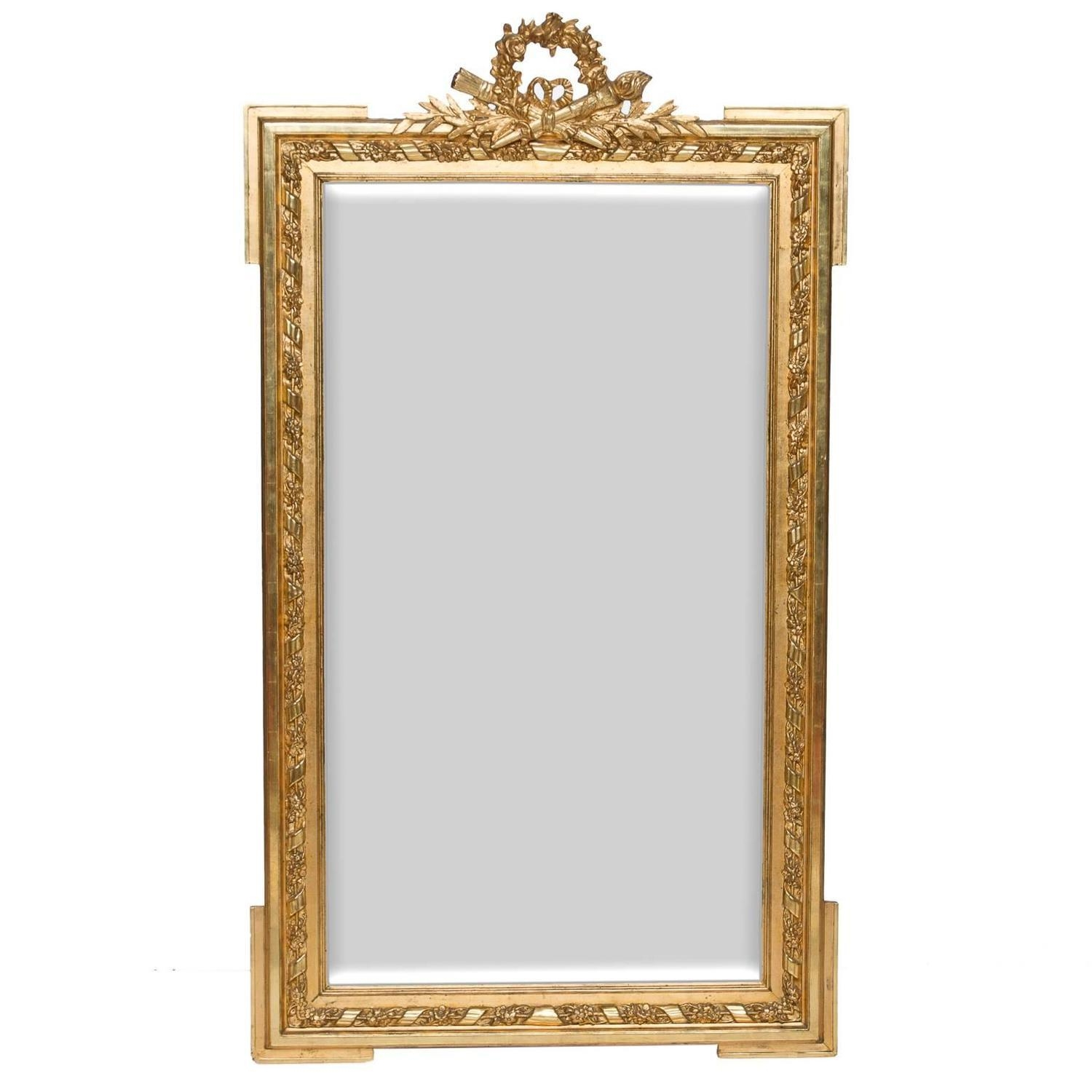 19Th Century Louis Xvi Gold Leaf Mirror At 1Stdibs Within Gold Antique Mirror (Image 1 of 20)