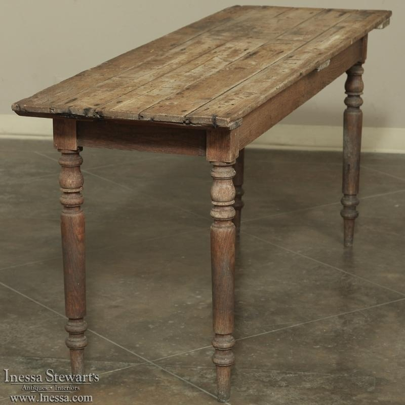 19Th Century Rustic Country French Pine Farm Sofa Table With Regard To Country Sofa Tables (Image 2 of 20)
