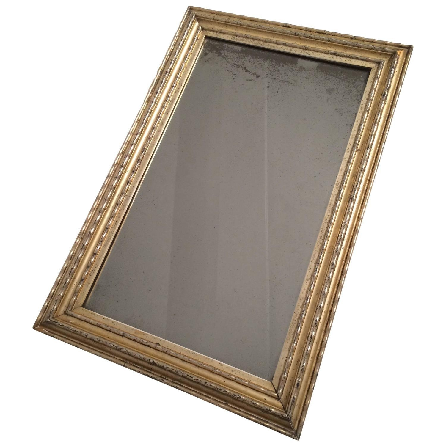 19Th Century Silver Gilt Ripple Frame With Antique Mirror For Sale With Silver Antique Mirror (Image 1 of 20)