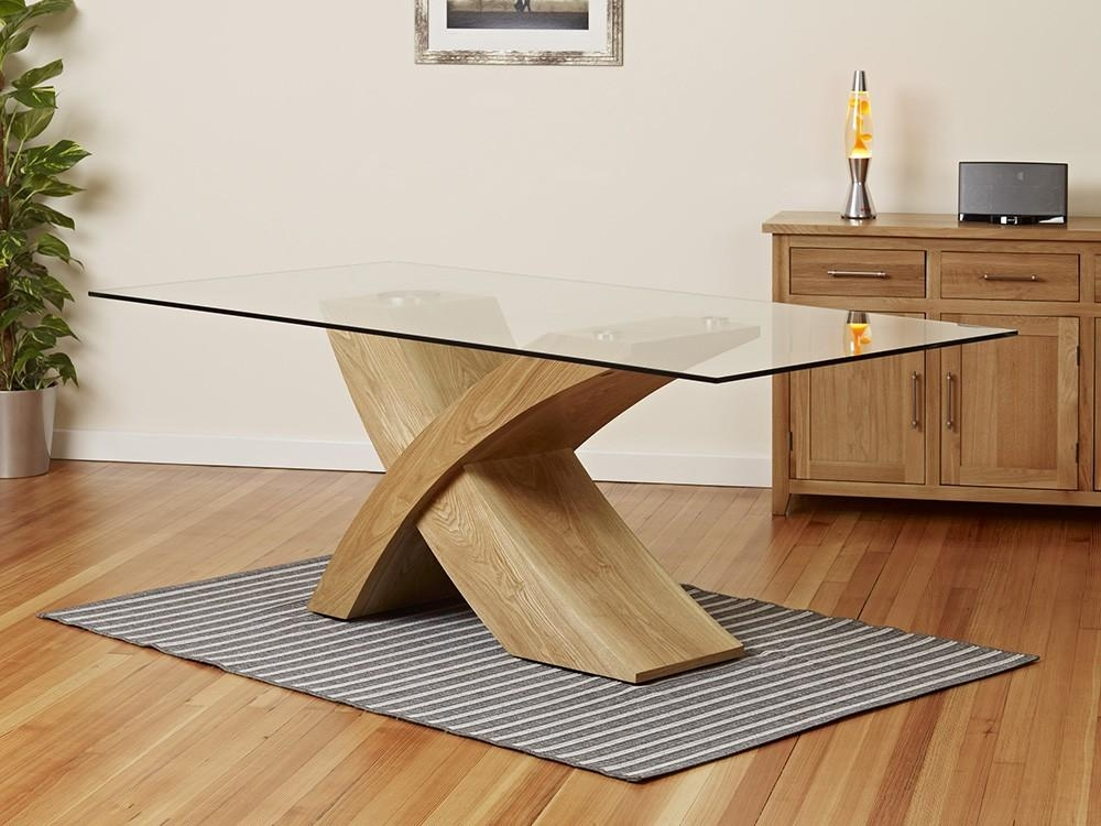 2 Metre Glass Top Dining Table With Oak Cross Base 1Home Oak Glass Regarding Glass Top Oak Dining Tables (View 1 of 20)
