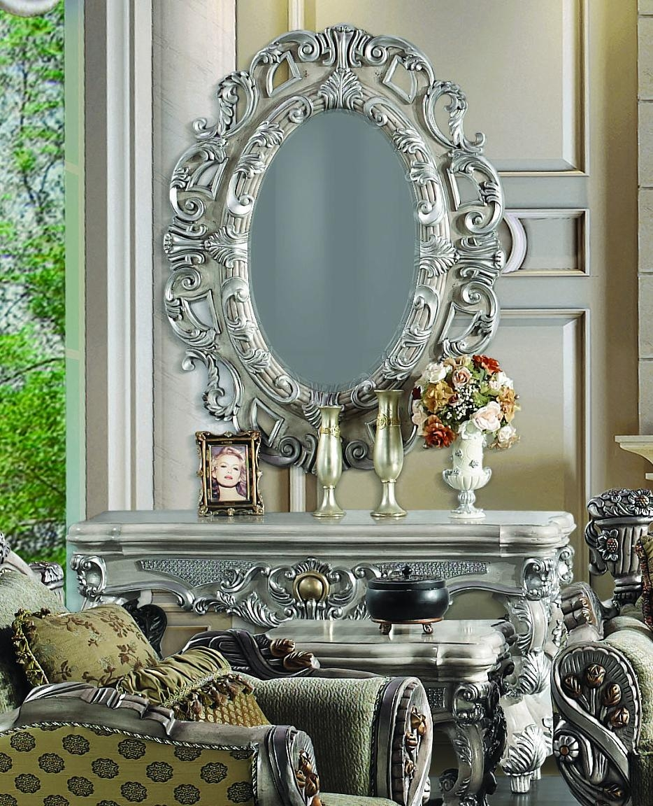2 Pc Silver Ornate Wall Console Table W/ Oval Wall Hanging Mirror Pertaining To Silver Ornate Wall Mirror (View 6 of 20)
