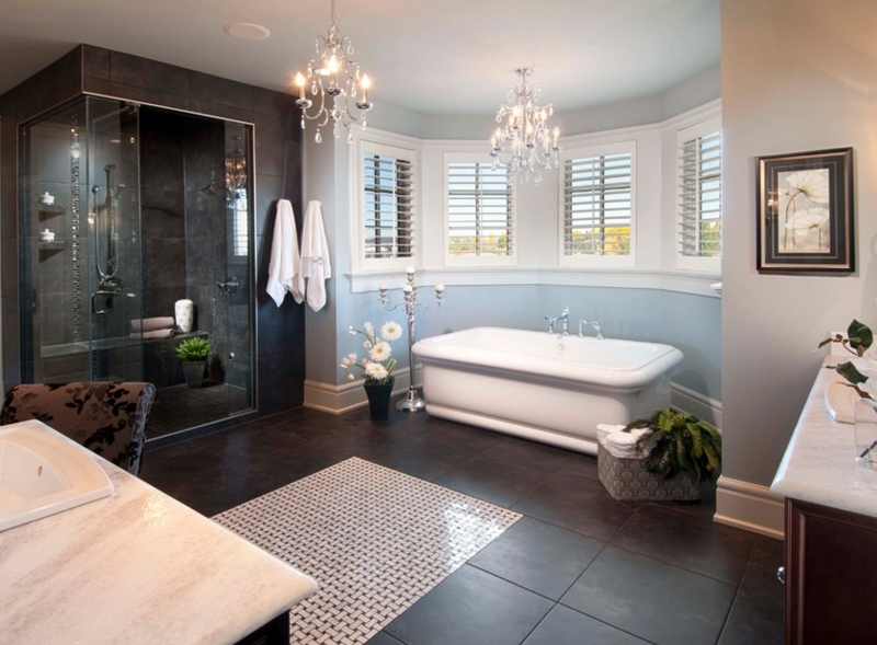 20 Gorgeous Bathroom Crystal Chandeliers Home Design Lover Within Crystal Chandelier Bathroom Lighting (Image 5 of 25)