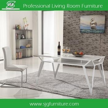 2017 White Melamine Lacquer Dining Table With Wrought Iron Table In White Melamine Dining Tables (View 19 of 20)