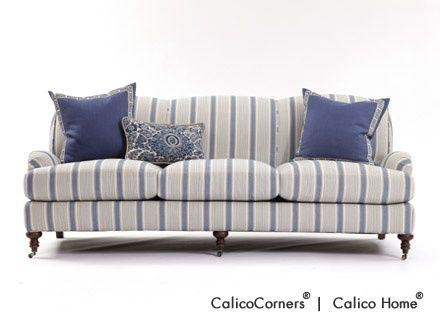 21 Best Sofas Images On Pinterest | Blue Stripes, Blue And White Within Blue And White Striped Sofas (Photo 1 of 20)
