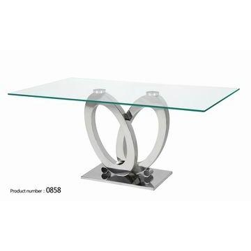 23 Glass Dining Table Stainless Steel Legs, Oval Black Glass Top With Glass And Stainless Steel Dining Tables (Image 3 of 20)