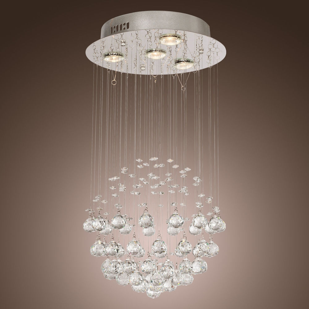 240v D15 To D60cm Chandelier Modern Crystal Round Ball Chandeliers Throughout Crystal Ball Chandeliers (Image 1 of 25)
