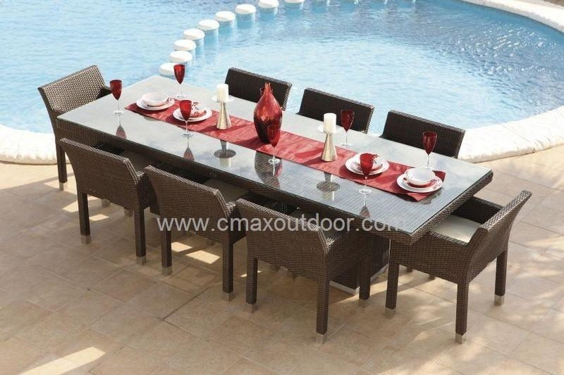 27 8 Chair Patio Dining Set | Electrohome For 8 Seat Outdoor Dining Tables (Image 1 of 20)