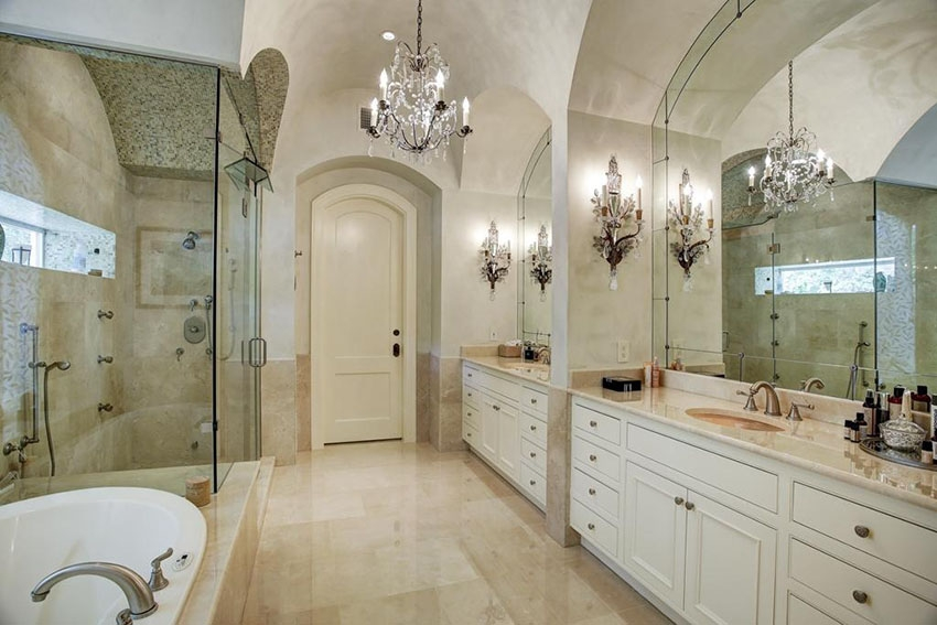 27 Gorgeous Bathroom Chandelier Ideas Designing Idea With Crystal Chandelier Bathroom Lighting (Image 7 of 25)