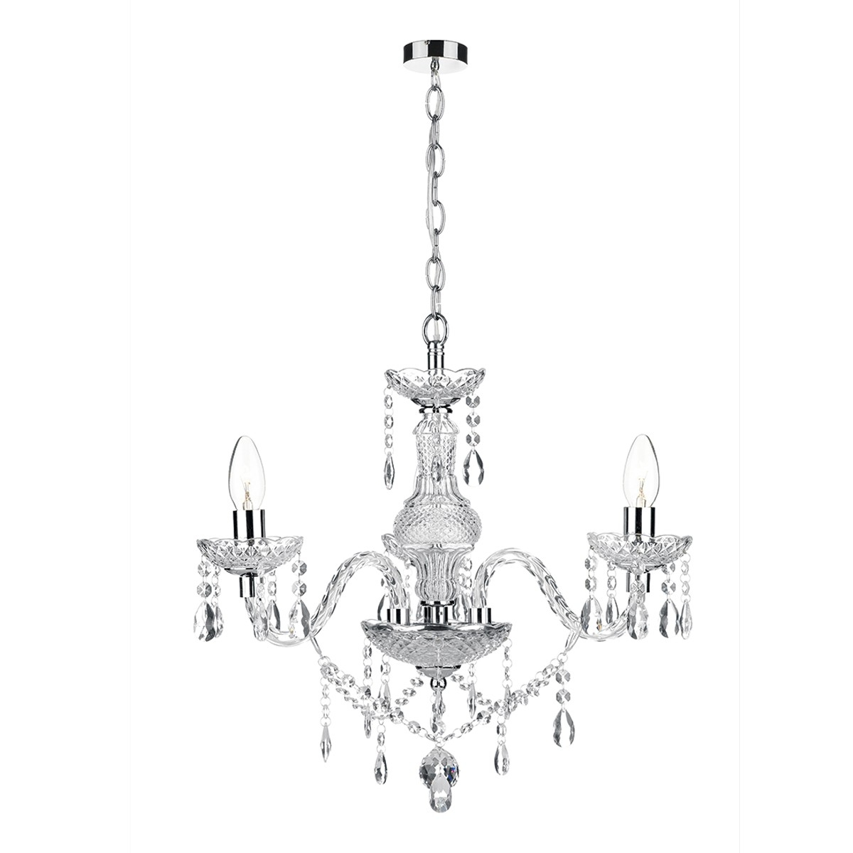 3 Light Chandelier Polished Chrome Acrylic Glass With Chrome And Glass Chandeliers (View 14 of 25)
