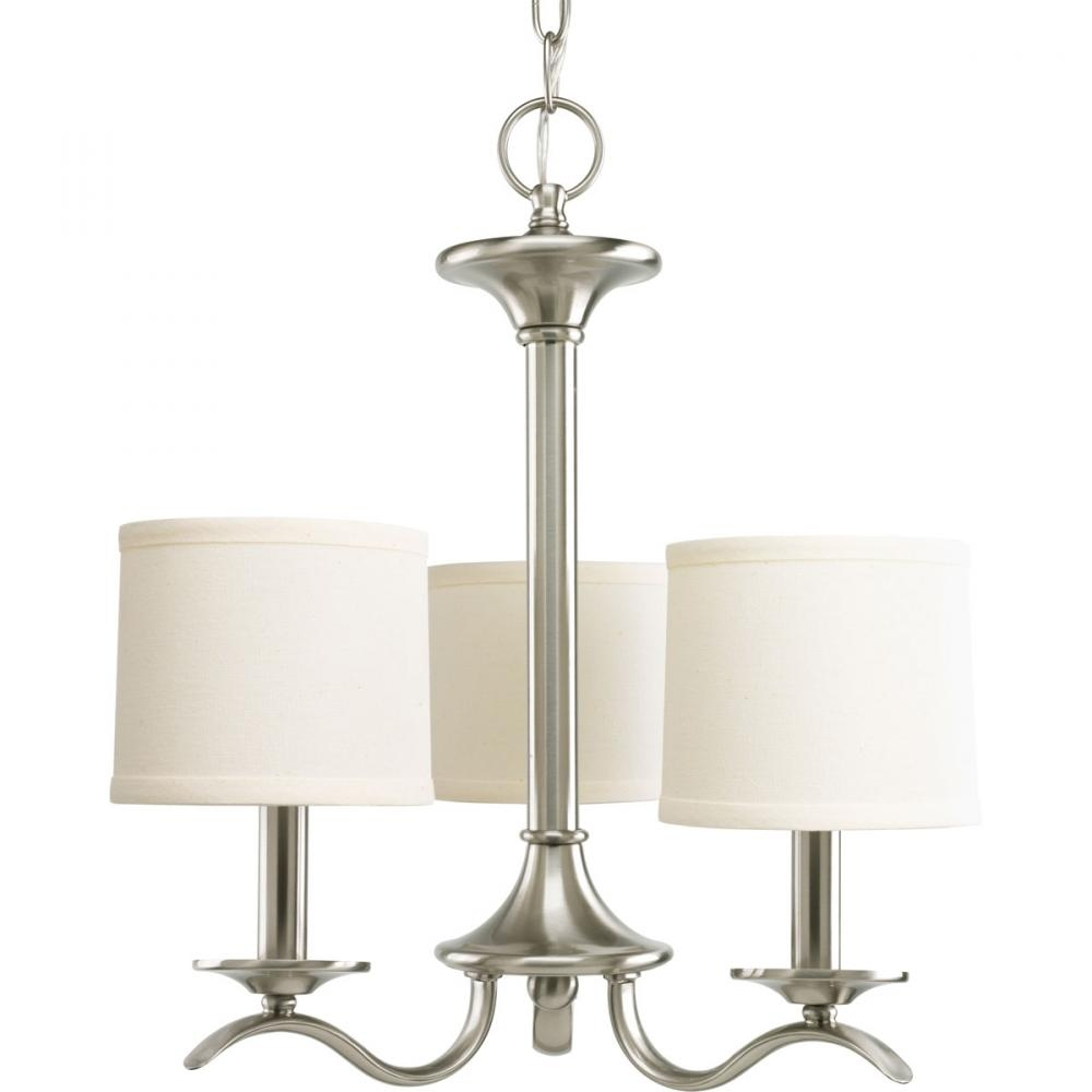 3 Lt Brushed Nickel Chandelier P4632 09 43rd Street Lighting Intended For Linen Chandeliers (Image 1 of 25)