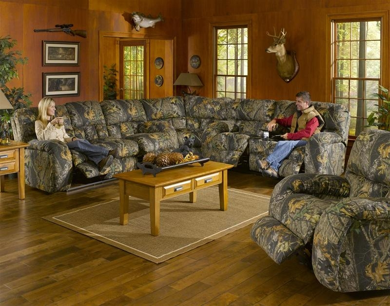 3 Piece Manual Recline Sectional In Camouflage Covercatnapper Regarding Camo Reclining Sofas (View 14 of 20)