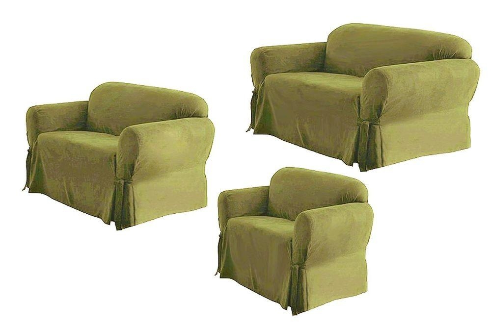 3 Piece Slipcover For Sofa Combination Jacquard Solid 1 2 3 Seat With Regard To 3 Piece Slipcover Sets (Image 3 of 20)