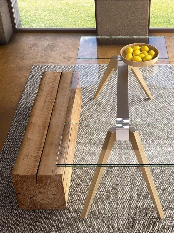 30 Ways To Incorporate A Glass Dining Table Into Your Interior With Regard To Glass Dining Tables With Wooden Legs (Image 2 of 20)