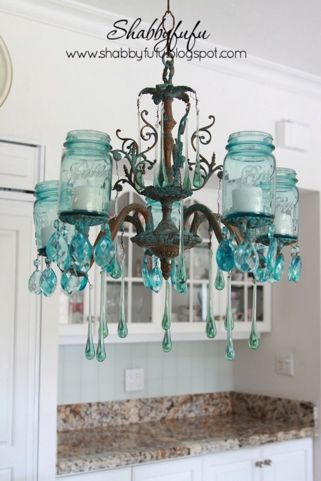 32 Diy Mason Jar Lighting Ideas Diy Joy With Regard To Turquoise Ball Chandeliers (Image 7 of 25)