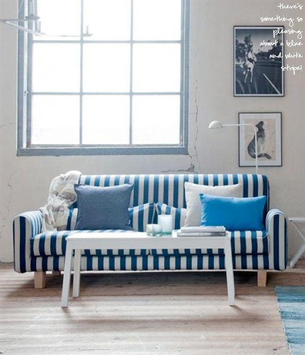 34 Best Blue Sofa Images On Pinterest | Blue Sofas, Blue Living Intended For Blue And White Striped Sofas (Photo 4 of 20)