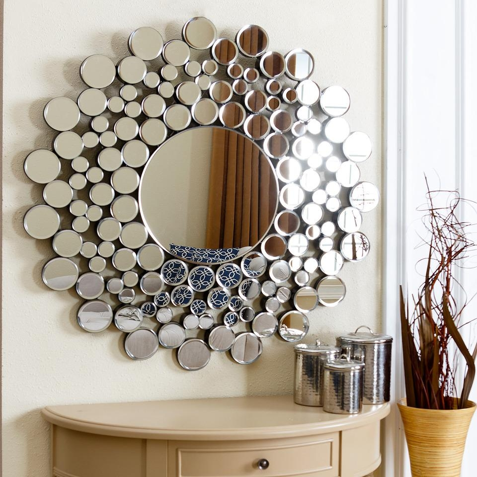 "36"" Buchon Round Bubble Wall Mirror In Silver With Round Bubble Mirror (View 8 of 20)"