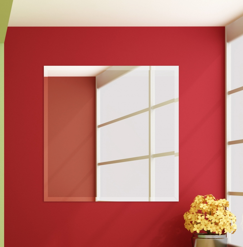 36 Inch Square Frame Less Wall Mirrors Pertaining To Red Wall Mirror (View 19 of 20)