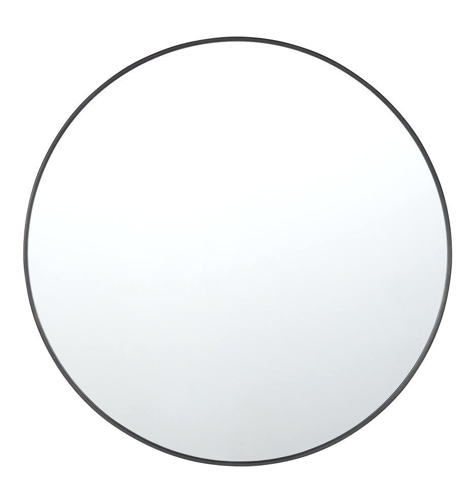 36 Round Mirror Black Inch Wall – Shopwiz Regarding Large Round Silver Mirror (Image 1 of 20)