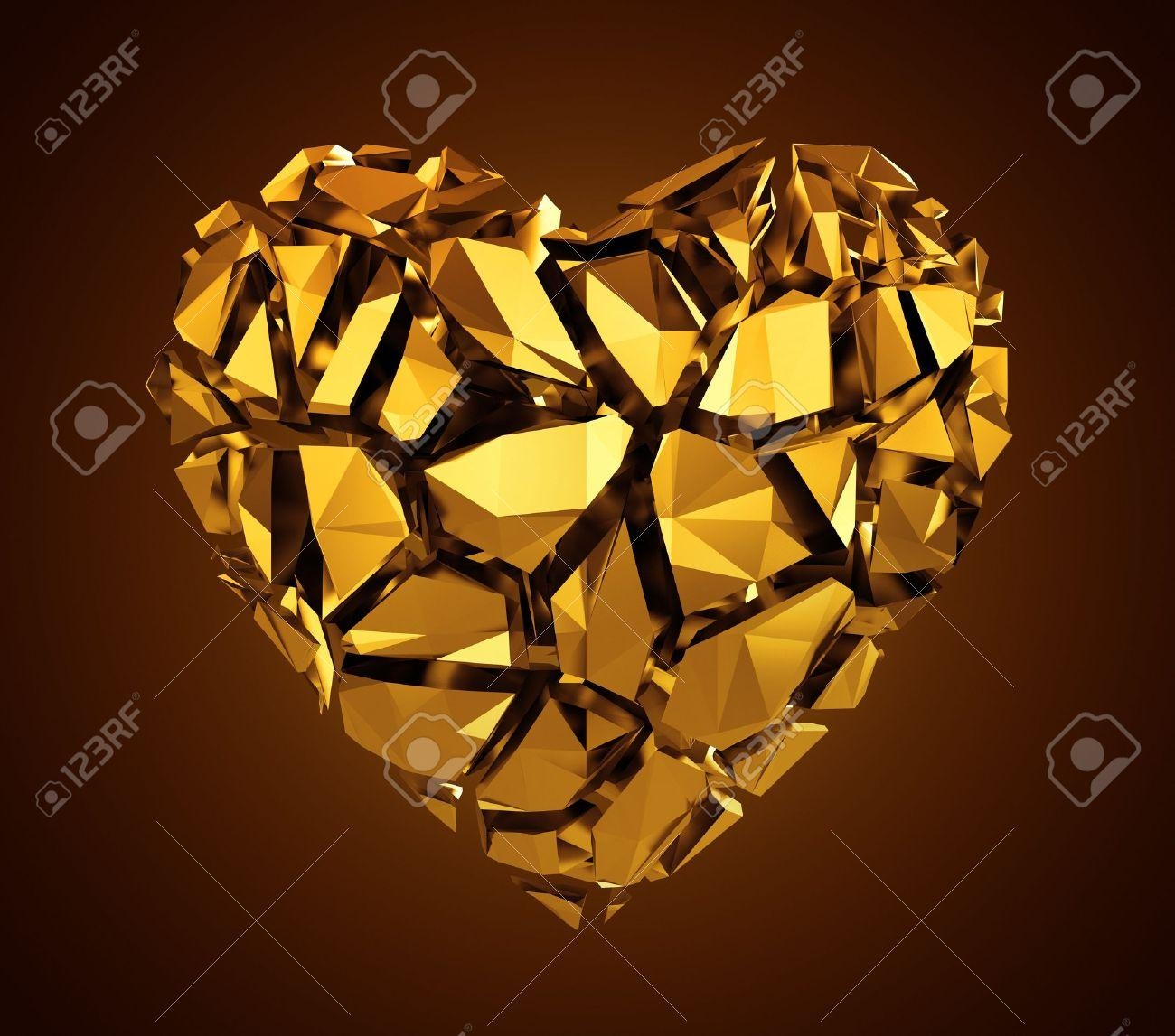 3D Broken Gold Crystal Heart Stock Photo, Picture And Royalty Free Intended For Gold Heart Mirror (Image 2 of 20)