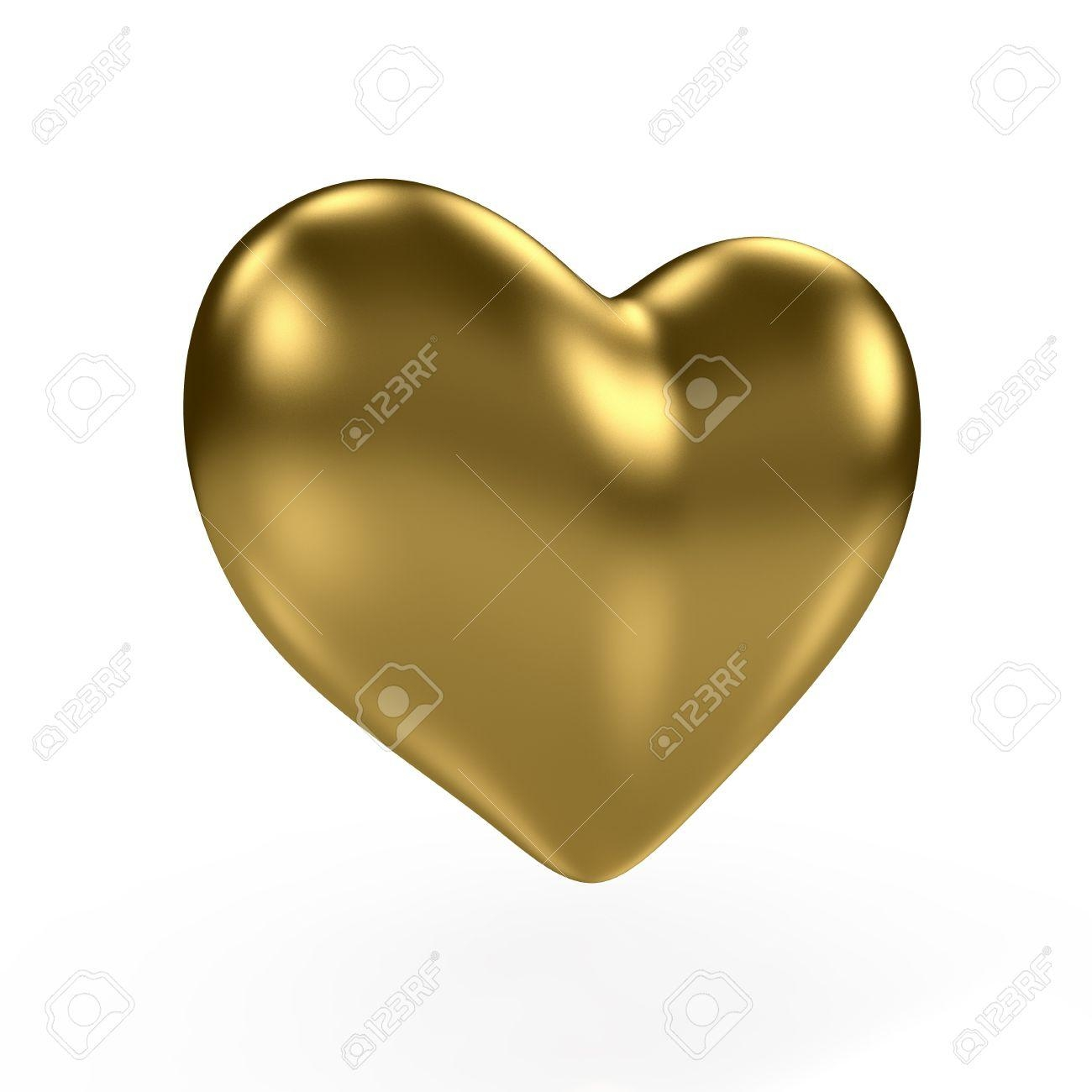 3D Render Of Gold Heart On White Background Stock Photo, Picture For Gold Heart Mirror (Image 3 of 20)