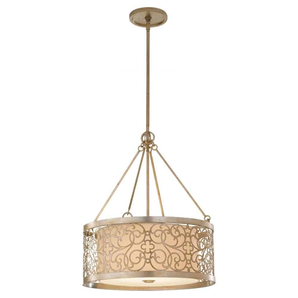 4 Light Shade Pendant F25374slp Statewide Lighting Pertaining To Fabric Drum Shade Chandeliers (Image 1 of 25)