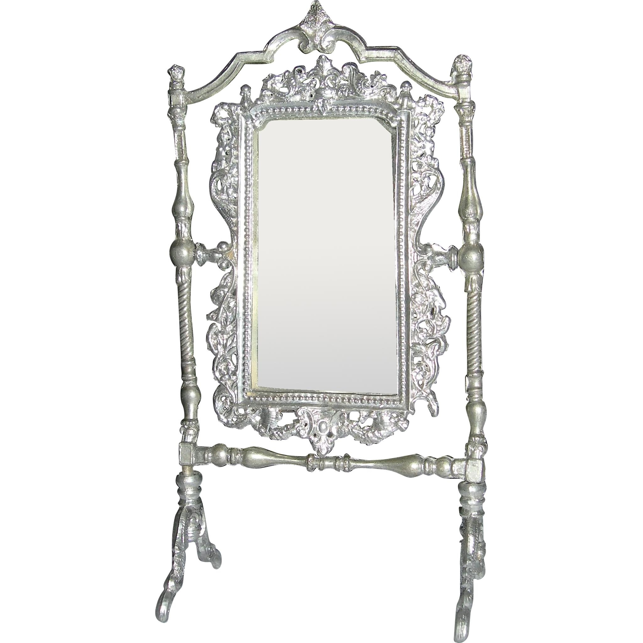 "4"" Soft Metal Ornate Mirror Silver Or Pewter From 2Bethsdolls On In Pewter Ornate Mirror (Image 2 of 20)"