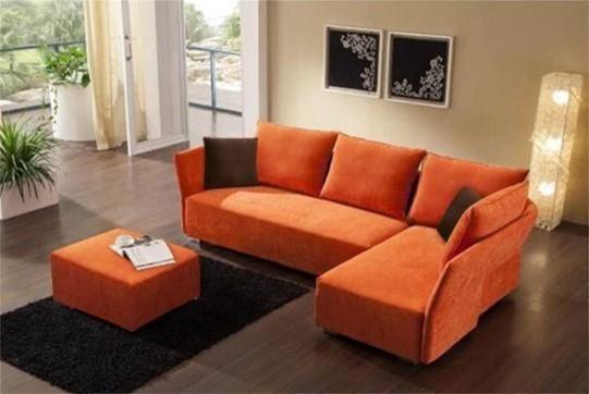 4017 Sectional Sofa In Orange Fabric Egss 4017 Leather Sectional In Orange Sectional Sofas (View 3 of 20)