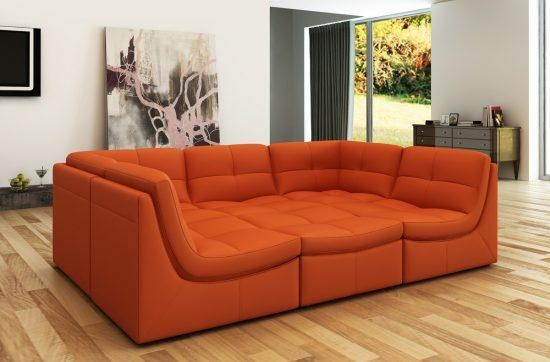 4017 Sectional Sofa In Orange Fabric Egss 4017 Leather Sectional Intended For Burnt Orange Sofas (Image 2 of 14)