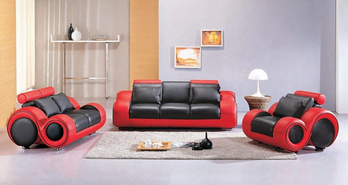4088 – Contemporary Black And Red Sofa Set With Black And Red Sofa Sets (Image 3 of 20)